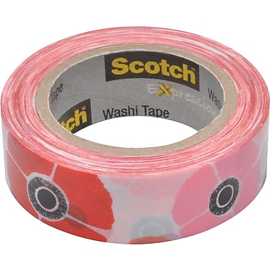 Scotch® Expressions Washi Tape, Poppy, 3/5in. x 393in.