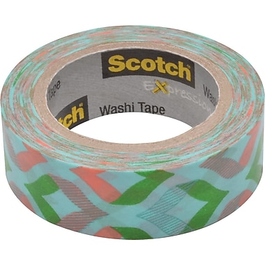 Scotch® Expressions Washi Tape, Peachy Mint, 3/5in. x 393in.