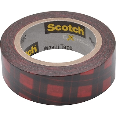 Scotch® Expressions Washi Tape, Red Buffalo Plaid, 3/5in. x 393in.