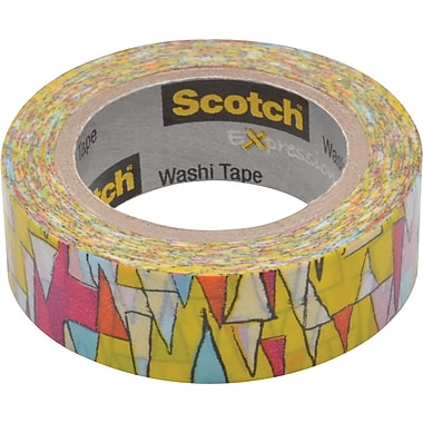Scotch® Expressions Washi Tape, Colorful Triangles, 3/5