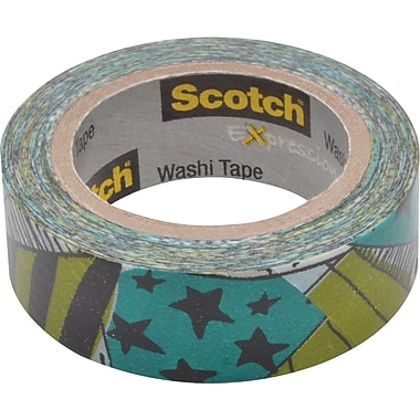 Scotch® Expressions Washi Tape, Teal & Black Stars, 3/5in. x 393in.