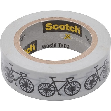 Scotch® Expressions Washi Tape, Bikes, 3/5in. x 393in.