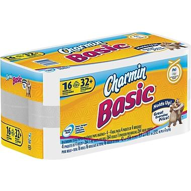 Charmin® Basic Bath Tissue Rolls, 1-Ply, 16 Rolls/Case