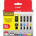 Canon PGI-250XL/CLI-251 Black High Yield, Black & Color Ink Cartridges (6432B011), 5/Pack