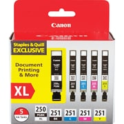 Canon PGI-250XL Black High Yield and  CLI-251 B/C/M/Y Black & Color Ink Cartridges (6432B011), Combo 5/Pack