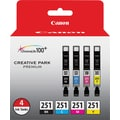 Canon CLI-251 Black & Color Ink Cartridges (6513B004), 4/Pack