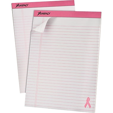 Ampad® Pink Ribbon, 8-1/2in. x 11-3/4in., White, Perforated Writing Pads, Legal Ruled, 6/Pack