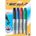 BIC® Mark-it® Chisel Tip Permanent Markers, Assorted, 4/Pack