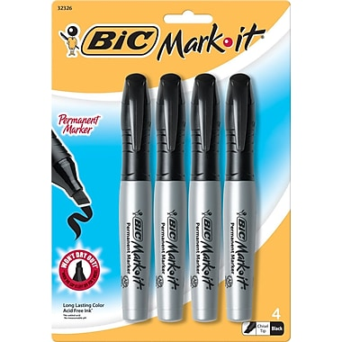 BIC® Mark-it® Chisel Tip Permanent Markers, Black, 4/Pack