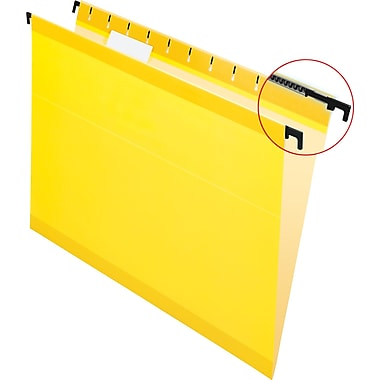 Pendaflex® SureHook® Reinforced Hanging File Folders, 5 Tab Positions, Letter Size, Yellow, 20/Box (6152 1/5 YEL)