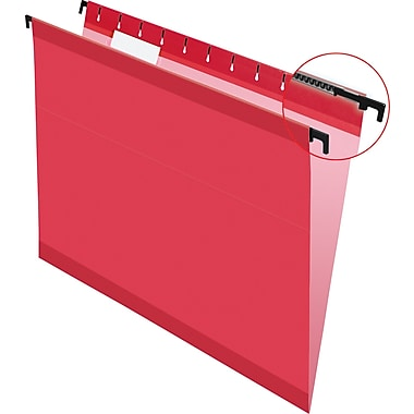 Pendaflex SureHook Reinforced Hanging File Folders, Red, Letter Size, 20/Bx