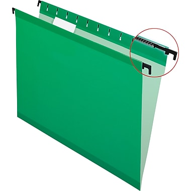 Pendaflex® SureHook® Reinforced Hanging File Folders, 5 Tab Positions, Letter Size, Bright Green, 20/Box (6152 1/5 BGR)