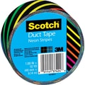Scotch® Brand Duct Tape, Neon Stripes, 1.88in. x 10 Yards