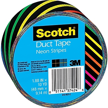 Scotch® Brand Duct Tape, Neon Stripes, 1.88