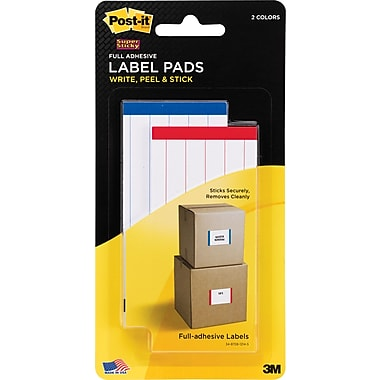 Post-it® Super Sticky Label Pads, 2in. x 4in., White with Side Color Bars, 2 Pads/Pack