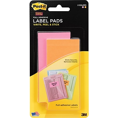 Post-it® Super Sticky Removeable Label Pads, 2in. x 4in., Neon Colors, 2 Pads/Pack