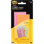 Post-it® Super Sticky Removeable Label Pads, 2 x 4, Neon Colors, 2 Pads/Pack