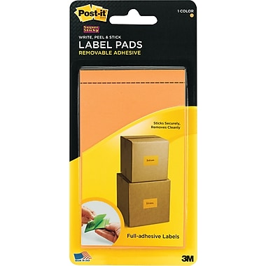 Post-it® Super Sticky Label Pads, 3in. x 4 3/4in., Neon Orange, 1 Pad/Pack