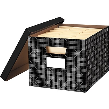 Bankers Box® Decorative Storage Box, Plaid, 2/Pack (6221601)