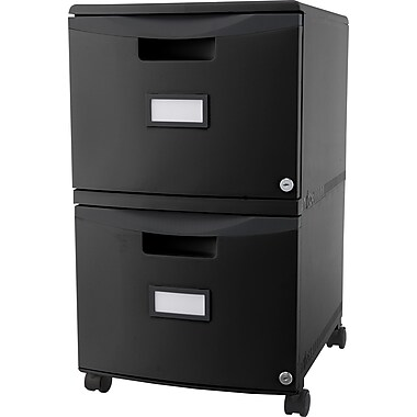 Storex® Locking File Double Drawer, Black