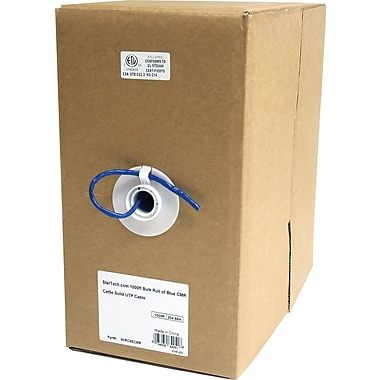 StarTech.com 1000 ft Bulk Roll of Blue CMR Cat5e Solid UTP Cable