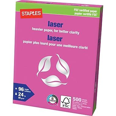Staples® – Papier laser certifié FSC, 24 lb, 8 1/2 po x 11 po, rame