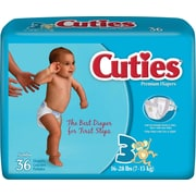 Cuties™ Premium Baby Diapers, Size 3, 144/Case
