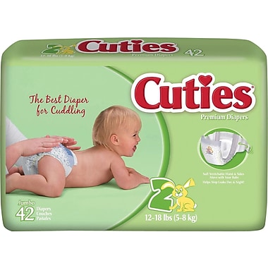 Cuties Premium Baby Diapers, Size 2, 168/Case