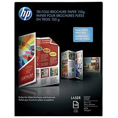 HP Tri-Fold Laser Brochure Paper, Glossy Finish
