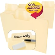 Smead® Erasable SuperTab® File Folders, Erasable 1/3-Cut Tabs, Letter, Manila, 24/Pack (10380)