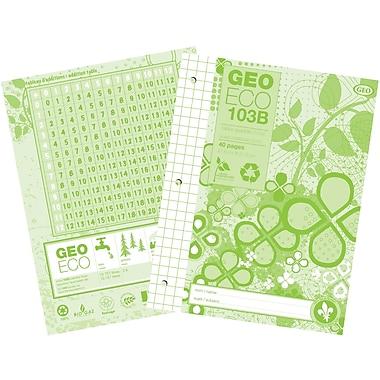 Carnet de notes quadrillé géométrique recyclé et recyclable à 100 %, 40 feuilles