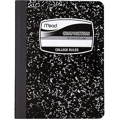 Mead® Square Deal® Black Marble Composition Book, College Ruled, 1-Subject, 9-3/4