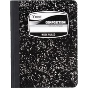 "Mead Five Star Square Deal 1-Subject Black Marble Composition Book, Wide Ruled, 9-3/4"" x 7-1/2"" (9910)"
