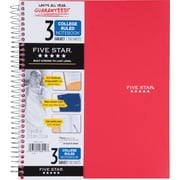 "Mead Five Star 8-1/2"" x 11"" Wirebound Notebook, Three-Subject, College Ruled, Red (72065)"