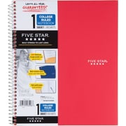 "Mead Five Star One-Subject 8-1/2"" x 11"" Wirebound Notebook, College Ruled, Red (72053)"
