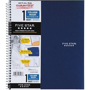 Mead Five Star Wirebound Notebook, 1 Subject, College Ruled, 100 Sheets, 11