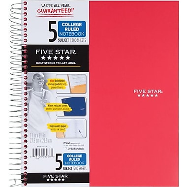 Mead® Wirebound Notebook, 5-Subject, Red, 8-1/2in. x 11in.