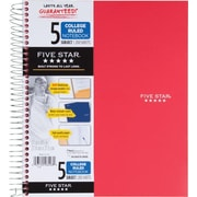 Five Star® Wirebound Notebook,  5 Subject, College Ruled, 200 Count, Red (72077)