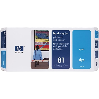 HP DesignJet 81 Cyan Dye Printhead and Cleaner (C4951A)