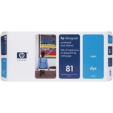 HP – Tête d'impression teintée cyan et nettoyant DesignJet 81 (C4951A)