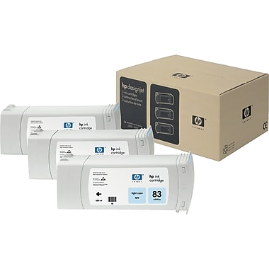 HP 83 Light Cyan UV Ink Cartridge, 3/Pack (C5076A)