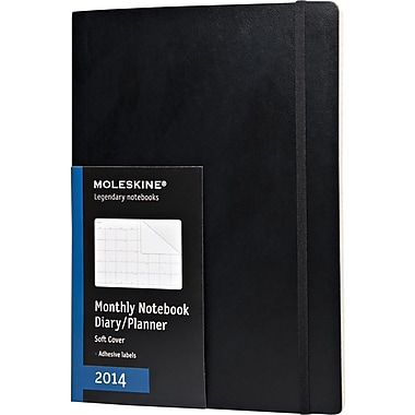 Moleskine 2014 Monthly Planner, 12M, Extra Large, Black, Soft Cover, 7-1/2in. x 10in.