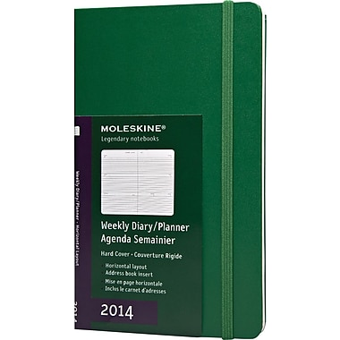 Moleskine 2014 Weekly Planner, Horizontal, 12M, Large, Oxide Green, Hard Cover, 5in. x 8-1/4in.