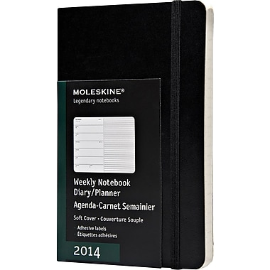 Moleskine 2014 Weekly Planner+Notes, 12M, Pocket, Black, Soft Cover, 3-1/2in. x 5-1/2in.