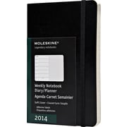 Moleskine 2014 Weekly Planner+Notes, 12M, Pocket, Black, Soft Cover, 3-1/2 x 5-1/2