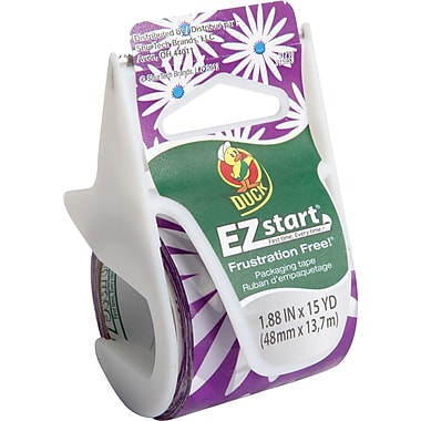 Duck Brand EZ Start Prints Fashion Packaging Tape Purple Daisy