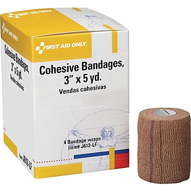 First Aid Only Cohesive Elastic Bandage Wrap You Can Tear, Latex-free, 3in. x 5 yd, 4/box