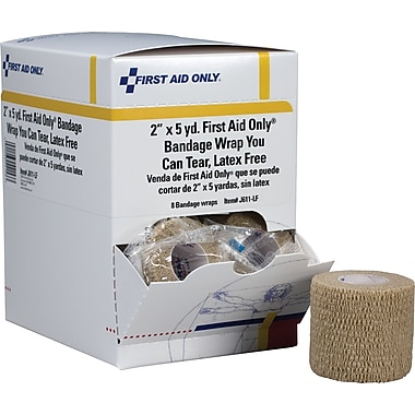 First Aid Only Cohesive Elastic Bandage Wrap You Can Tear, Latex-free, 2in. x 5 yd, 8/box