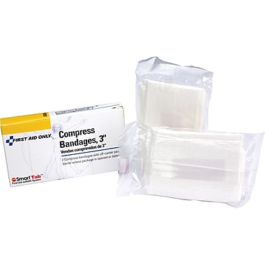 First Aid Only Compress Bandage, Off Center, 3in., 2/box