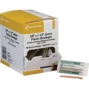 First Aid Only Junior Bandage, Plastic, 3/8in. x 1 1/2in.
